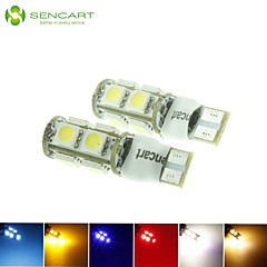 10 x T10 LED 2-Mode Blue/Red/Warm White/Green/Yellow/White 2.5W 9X5050SMD 120LM   for Car Light Bulb  (DC12-16V)