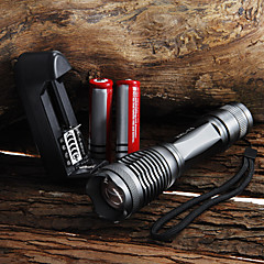 2000 lumen 7-tilstand e007 zoomable Cree XM-l T6 førte 18650 aaa lommelygte + 2x18650 batteri + oplader