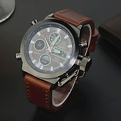 menns ku skinn stropp analoge digitale militære kronograf sport armbåndsur (assorterte farger)