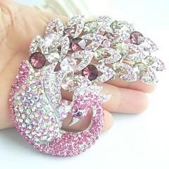 kvinder tilbehør sølv-tone pink rhinestone krystal påfugl broche bryllup deco brudebuket kvinder smykker