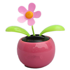 Pink Color Flip Flap Solar Powered Flower Auto Car Dancing Swing Toy