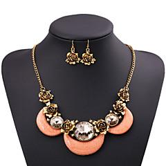 Damskie Zestawy biżuterii Oświadczenie Naszyjniki Flower Shape Rose Kamień szlachetny Cyrkonia sztuczna DiamentOświadczenie Biżuteria
