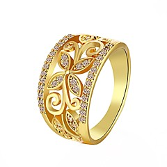 Ring Wedding / Party / Daily Jewelry Zircon / Rhinestone / Gold Plated Women Statement Rings 1pc,7 / 8 Gold / White / Red / Rose Gold