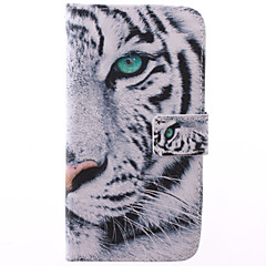 Fashion Design COCO FUN® White Tiger Pattern PU Leather Wallet Case Cover for Samsung Galaxy GRAND 2 G7106