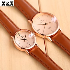 Couple's Fashion Diamond Simple Business Quartz Analog Leather Band Wrist Watch(Assorted Colors)