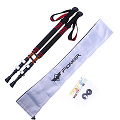 Pioneer Outdoor 3 Sections Carbon Flip Lock Adjustable Hiking Trekking Poles 2-Pack with Bag