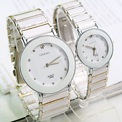 Couple's New Explosion Round Crystal Scale Dial Ceramic Strap Fashion Quartz Watch