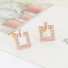 Small contracted joker hollow out set auger square stud earrings