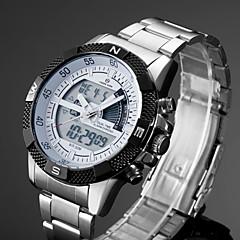 Herren Kleideruhr / Armbanduhr Quartz LCD / Kalender / Chronograph / Wasserdicht / Duale Zeitzonen / Alarm / leuchtend Edelstahl Band Cool
