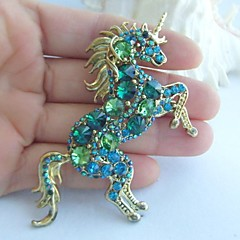 Women Accessories Gold-tone Turquoise Green Rhinestone Crystal Unicorn Horse Brooch Art Deco Scarf Brooch Women Jewelry