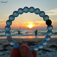 Euner® Environmental Protection Silicone Bracelet,Bead Mud from Dead Sea & Water from MT Everest,Blue