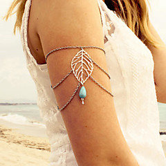 European Style Fashion Personality Leaves Vintage Handmade Turquoise Tassel Drop Arm Chain