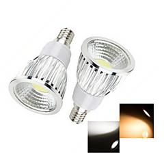 2 pcs E14 6w 1x cob 50-150lm 2800-3500 / 6000-6500k branco quente / frio luzes de mancha branca ac 220-240v