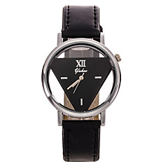 Popular Men's Round Cross Golden  Dial  Leather Band Quartz Analog Wrist Watch(Assorted Color) Cool Watch Unique Watch