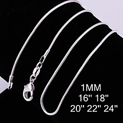 1MM Fashion 925 Silver Chain Necklaces Wedding/Party/Daily/Casual 1pc