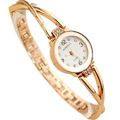 vrouwen diamant decor goud stalen band kwarts armband horloge
