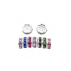 100pcs Rhinestone Silver Plated Loose Spacer Bead Charm Chic 8mm Mixed Colors