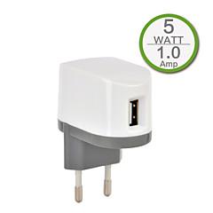 ce sertifisert enkelt usb vegglader, europa plug ansikt, 5v 1a utgang, for iPhone 5 / 5s / 5c iPhone 6 / pluss iphone 3 / 3G / 3GS