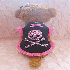 Perros Camiseta Negro Verano Cráneos / Corazones