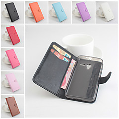 For Alcatel Case Wallet / Card Holder / with Stand / Flip / Magnetic Case Full Body Case Solid Color Hard PU Leather Alcatel