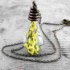 Wishing Bottle Glass Necklace Series Necklace Yellow Lilies Valentine Gift Girlfriends