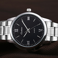 Couple's Simple Silver Alloy Band Waterproof Quartz Wrist Watch