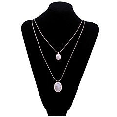 Fashion Women's Crystal Sweater Chain 2pcs Pierced Water Drop Shaped Resin Pendant Long Necklace (Gold Plated)