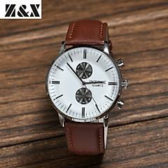 herremode big dial to-øjne business quartz analog læder band armbåndsur (assorterede farver)