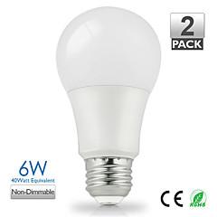 ZDM ™ 2kpl vanlite e27 6W 500lumen johtanut lampun a60 kotiin lämpimän valkoinen, luonnonvalkoinen valitse energiansäästön (ac220-240v)