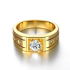 Anéis Casamento / Pesta / Diário / Casual / Esportes Jóias Chapeado Dourado Feminino / Masculino Anéis Grossos 1pç,8 / 9 / 10 Dourado