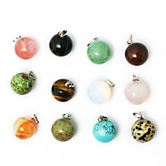 Beadia 24pcs Mixed Color Natural Gemstone Charm Pendant Beads 14mm Round Shape Stone Fit Pendant Necklaces