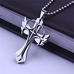 Trompette Shape Cross Titanium-Steel Pendant(Black)(1Pc)