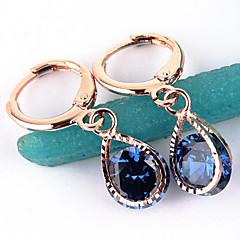 Kolczyki koła Cyrkon Stop Dark Blue Różowy Transparent Biżuteria Na Ślub Impreza Codzienny Casual 2pcs
