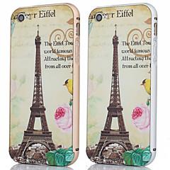 armação de metal + eiffer torre e flor padrão de backplane tampa traseira caso para iphone 5 / 5s (cores sortidas)