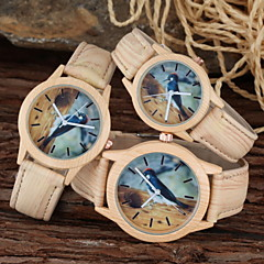 Familiy Set Parent-Child Casual Watch Wood Design Woodpecker PU Strap Wristwatch