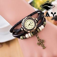 reloj banda tejida de moda análogo de cuarzo de cuero de imitación esfera redonda mano de las mujeres (color clasificado)