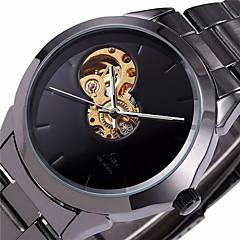 Мужской Часы С автоподзаводом Часы со скелетом С гравировкой Нержавеющая сталь Группа Наручные часы