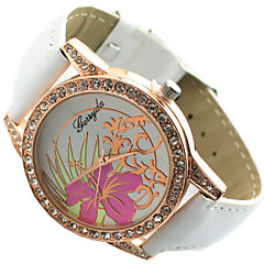 diamante esfera redonda de la mujer con la flor de la PU de cuarzo correa de reloj ocasional analógico