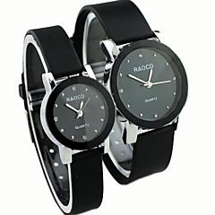 stile causale quadrante rotondo in caucciù nero orologio da polso del quarzo della fascia di coppia