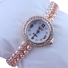 Women's Round  Dial Rose Gold Pearl Band Quartz Analog Wrist Watch