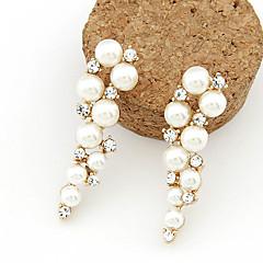 Kolczyki wiszące Perłowy Imitacja pereł Kryształ górski sztuczna Diament Stop White Biżuteria Na 2pcs