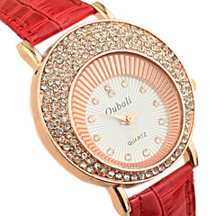 vrouwen diamante ronde wijzerplaat pu band quartz analoog mode horloge