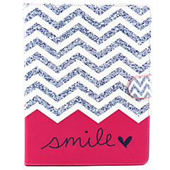High-grade Painted Pink Smile Waves PU Tablet Case Cover with Stand and Card Slots for Ipad2/3/4