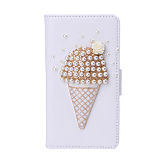 Ice Cream Imitation Diamond PU Leather White Case with Stand for Samsung Core Prime G3608 and Other Models