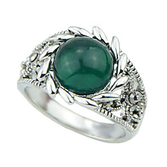 New Design Silver Plated Single Green Gemstone Engagement Ring