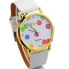 Women's  Casual  Round Dot Dial PU Band Quartz Wrist Watch