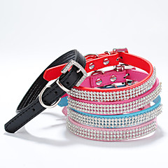 Cat / Dog Collar Adjustable/Retractable / Handmade Rhinestone / Hearts / Mosaic Red / Black / Green / Blue / Purple PU Leather