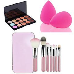 15 farver facial ansigt kontur concealer creme palet + 7pcs lyserøde kasse makeup pensler sæt kit + pulver puff