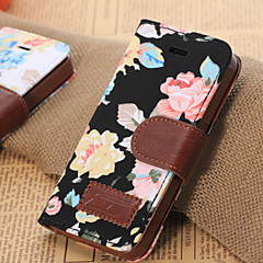 Flowers Pattern Horizontal Flip Leather Case with Card Slots & Holder For iPhone5C