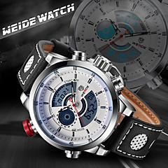 WEIDE Men Fashion Analog Digital Sport Watch Leather Strap Stopwatch/Alarm Backlight/Waterproof